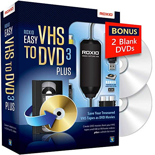 Roxio Easy VHS to DVD 3 Plus | VHS, Hi8, V8 Video to DVD or Digital Converter | Amazon Exclusive 2 Bonus DVDs
