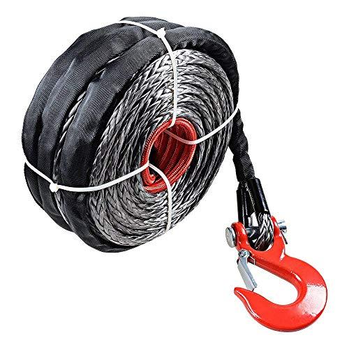 HUKOER 3/8'x 29 m Corde de Remorquage Synthétique Noire avec Housse de Protection et Crochet 19000 LB pour Barco Ramsey ATV UTV KFI