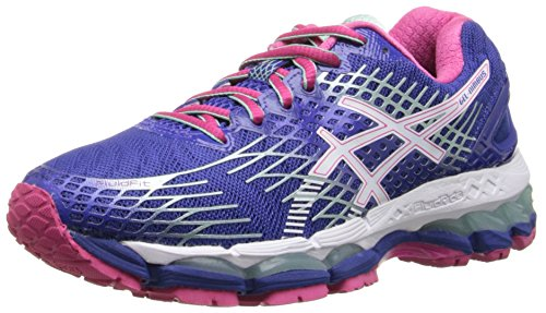 ASICS Women's Gel-Nimbus 17 Running Shoe,Deep Blue/White/Hot Pink,8 M US