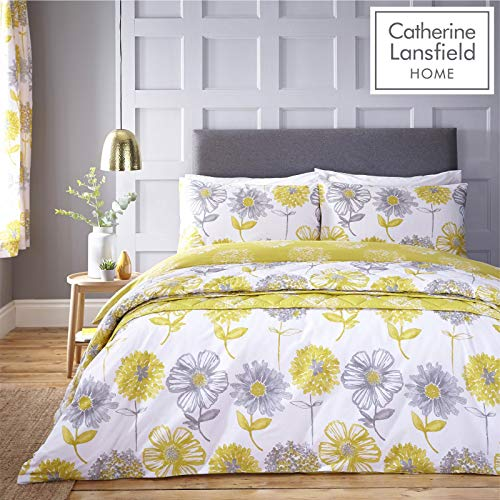 Catherine Lansfield Floral Banbury de Cuidado fácil, Amarillo, King Duvet Set