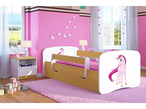Kinderbett Jugendbett 70x140 80x160 80x180 Buche mit Rausfallschutz Matratze Schublade und Lattenrost Kinderbetten für Mädchen und Junge Einhorn 180 cm