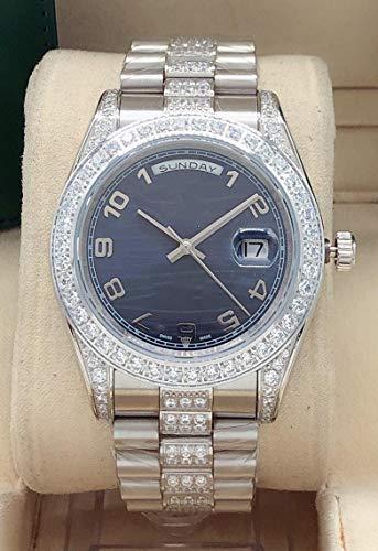 LMFZD Anillo De Diamantes Reloj De Acero Inoxidable Zafiro Fecha De Día Hombres Automático Mecánico Plata Oro Número Dial Relojes 41 mm Azul Negro