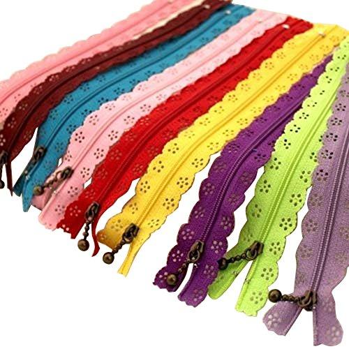 HugeStore 20cm Spitze Reißverschlüsse Nylon Zippers Reißverschluss Für Bekleidung und Handwerk 20 STK