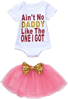 c80fc7ae09 Winsummer Short Sleeve Ain't No Daddy Print Romper Bodysuit Tutu Skirts Outfit  Set for