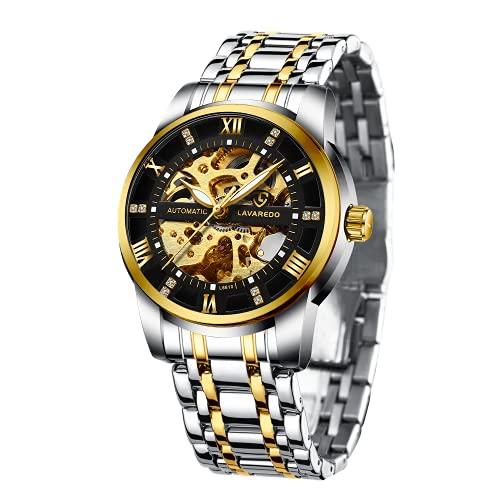 Relojes, Relojes Hombre Mecánico Automático Esqueleto de Estilo Clásico Impermeable Reloj de Los Hombres con Correa de Acero Inoxidable Oro Negro