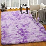 Homore Soft Velvet Fluffy Rugs, Abstract Accent Rug for Kids Bedroom Nursery Room Modern Indoor Furry Rug Luxury and Comfy Floor Mat for Living Room Dorm and Home Decor, 4x6 Feet, Purple