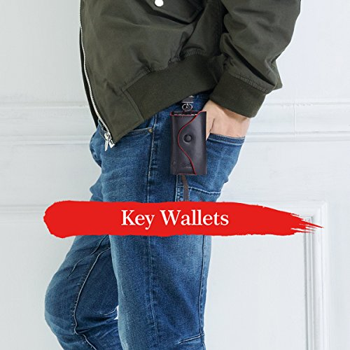 Contacts Men's Genuine Leather Car Key Case Card ID Holder Wallet Black