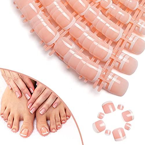 140 Stücke Französisch Falsche Zehennägel Nägel Künstlich Fußnägel Tips Natürliche Künstliche Zehen Fußnägel Set Acryl Fake Nägel Tipps für Damen Frauen