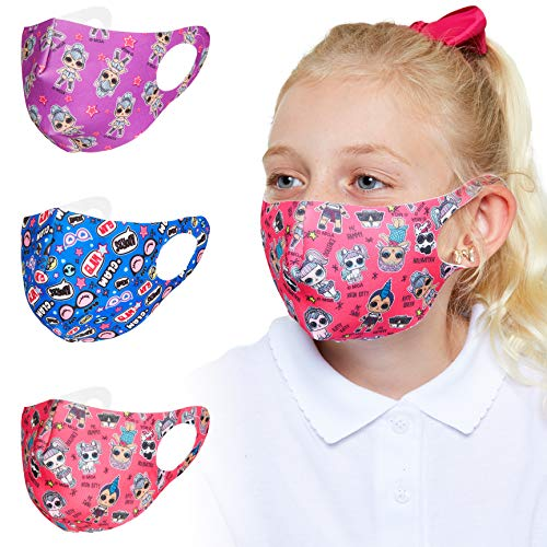 L.O.L. Surprise! Masque Enfant, Lot De 3 Masques Tissus Reutilisables Des Poupées LOL Pour Utilisation En Intérieur Et Extérieur, Masqe Tissu Lavable Pour Fille, Taille Adaptée Pour Visage Enfants
