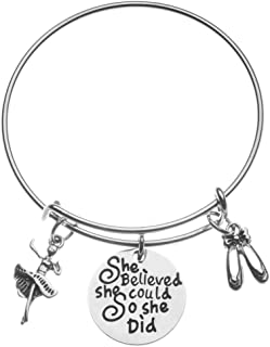 Infinity Collection Dance Charm Bangle Bracelet- She Believed She Could So She Did Jewelry for Dance Recitals, Dancers and Dance Teams