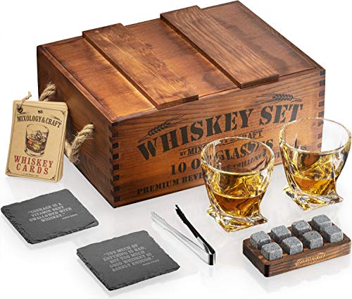 Whiskey Stones Gift Set for Men   Whiskey Glass and Stones Set with Rustic Wooden Crate, 8 Granite Whiskey Rocks Chilling Stones, 10oz Whiskey Glasses   Whiskey Gift For Men, Dad, Husband, Boyfriend