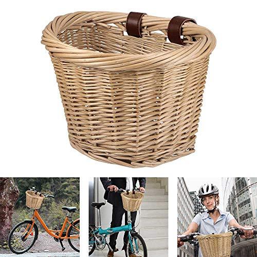 PopHMN Cesta de Mimbre para Bicicleta, Cesta Delantera para Bicicleta con cinturón de Cuero Cesta para Almacenamiento del Manillar para Adultos Accesorio para Bicicleta 26 * 21 * 19CM