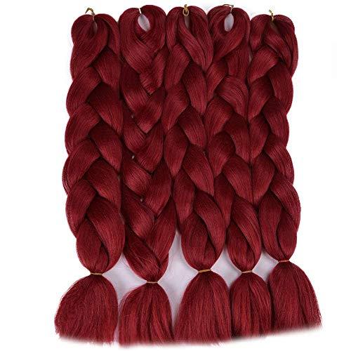 Extensions de cheveux de tressage de cheveux pour les femmes Cheveux synth¨¦tiques pour le tressage Jumbo Cheveux de tressage synth¨¦tique 24 pouces 5PCS / Lot Extensions de cheveux brun rouge vert