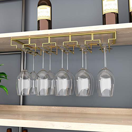 MAJOZ0 Portabicchieri/Porta Calici di Vino, Supporto con 5 Binari per 10-15 Bicchiere di Vino,a Sospensione Portabicchieri, Mantieni I Bicchieri asciutti, 50 x 22.5 x 5.5cm