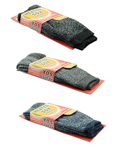 3 Pairs Men Heated SOX Thermal Winter Heavy Duty Crew Socks MEGA THERMO 2.3 TOG (mixed 3 pairs (black,navy,gray)),socks size: 10-13 fits for shoe size 7-13