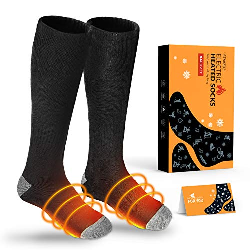 Balhvit Upgraded Two Sides Heated Socks for Men Women, Up to 12 Hours Heating Socks-Rechargeable Electric Socks with 3 Heat Settings, Washable Warm Winter Cotton Thermal Socks for Hunting Camping