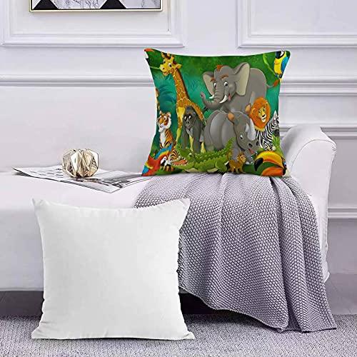 Ccstyle Funda de Cojín Funda de Almohada del Hogar Animal Salvaje para niños Dibujos Animados Elefantes y Jirafas Familia en Bosque Square Soft and Cozy Pillow Covers,