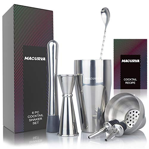 Cocktail Shaker Set, Bartender Kit Shakers Bartending with 24 oz Stainless Steel Martini Shaker and Strainer, Measuring Jigger, Mixing Spoon, Muddler and Liquor Pourers, Alcohol Shaker Cocktail Mixer