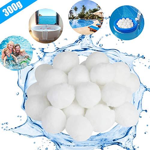 KATELUO Filter Balls,Pool Filter Balls,300G/500G Filter Balls für sandfilteranlagen,kartuschenfilter,hohe Wasserdurchlässigkeit, Leichter, effizienter,Filterung (300g, Weiß)
