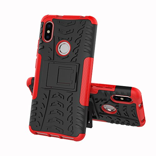 JMstore Coque Compatible avec Xiaomi Redmi S2+Protection Verre Trempé,Armor Support Étui Hybride Cover Cases Housse(Rouge