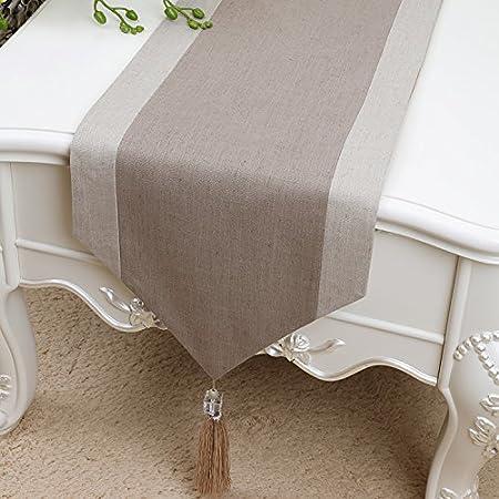 Nappe de table en lin et coton avec pompons - Lavable - Décoration de Noël - Maison - Cuisine - Décoration rustique idéale pour Noël
