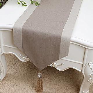 Nappe de table en lin et coton avec pompons - Lavable - Décoration de Noël - Maison - Cuisine - Décoration rustique idéale...