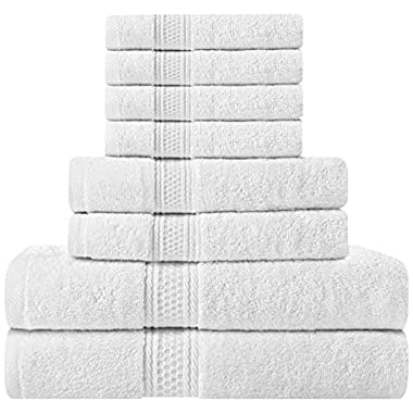Premium 8 Piece Towel Set (White); 2 Bath Towels, 2 Hand Towels and 4 Washcloths - Cotton - Machine Washable, Hotel Quality, Super Soft and Highly Absorbent by Utopia Towels
