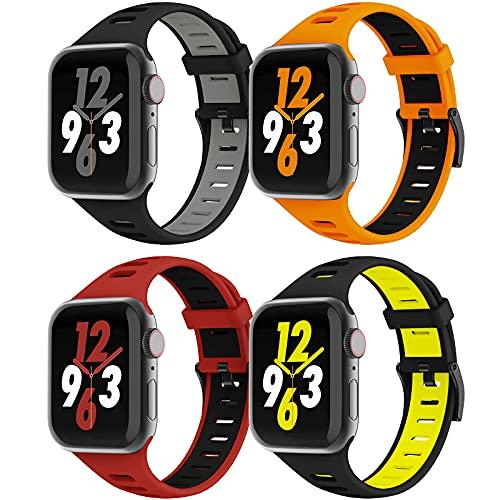 Vecann Correa Compatible para Apple Watch Bandas 38 mm 40 mm 42 mm 44 mm, Bandas deportivas de silicona Impermeable Transpirable Suave pulsera de repuesto para iWatch Series 6/5/4/3/2/1/SE