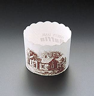 天満紙器 マフィンカップハウス柄白M-405 晒クラフト 日本 (100枚入) WMH21