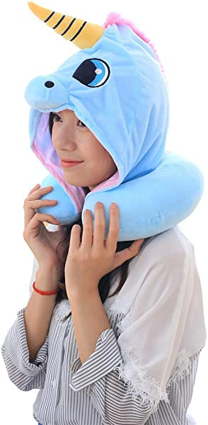 Andy Echo Cute Unicorn Travel Pillow PP Cotton Hoodies Neck Pillow Blue
