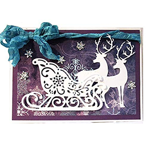 WYSE Metal Cutting Die Christmas Deer Sledding Dies for DIY Scrapbooking Paper Card Template (Deer sled)