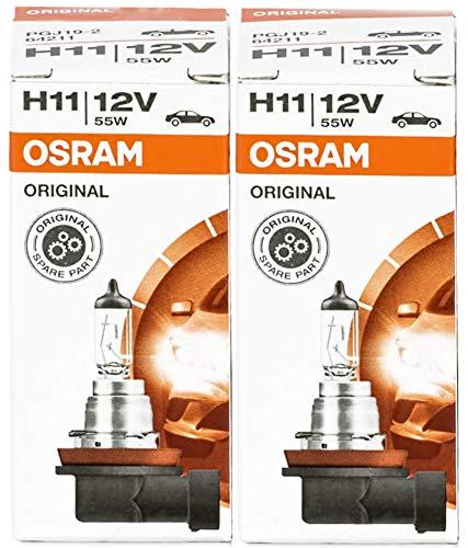 Osram 64211 X H11 55W   HIGH TECH - Bombilla halógena de larga duración para lámpara de coche, paquete de 2 unidades de filtros UV, marca OEM nuevo en embalaje original