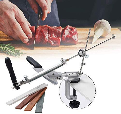 Kacsoo Affilacoltelli Affilatrice Professionale in Acciaio Inossidabile ad Angolo Fisso Dotato di 4 Pietre per affilare di Alta qualità per coltelli Professionali da Cucina e da Chef