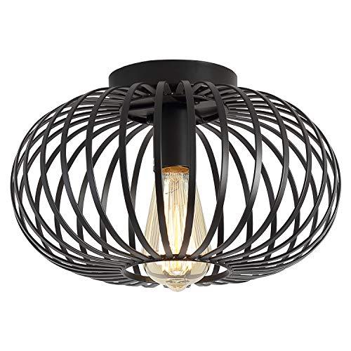 Lámpara de techo de metal industrial con montaje empotrado para pasillo, sala de estar, cocina, entrada, granja, color negro