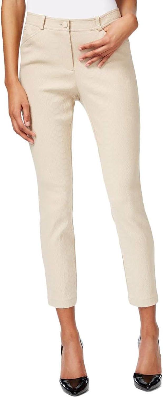 Bar III Womens Textured Snake Print Casual Pants Beige 0