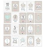 Luck and Luck Oh Baby Lot de 20 cartes de vœux assorties pour présenter les étapes de développement de bébé