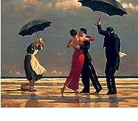 QGHMV Diyダイヤモンド絵画番号付きキットカップルと海を踊る年配の男性フルドリルクロスステッチアートクリスマスとの装飾ギフト40X50cm(LF2187)