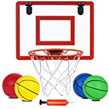 """Indoor Mini Basketball Hoop and 4pcs Balls 16 'x12"""" Board Hoop Game Set for Door and Wall Mount with Complete Accessories Basketball Toy Gifts for Kids and Adults"""