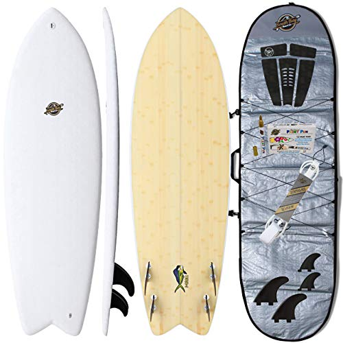 Hybrid Surfboards + Bag Package - Best Performance Soft-Top Longboard & Shortboard Surfboards - Great for All Surfing Levels - Wax Free Soft Top + Fiberglassed Hard Bottom