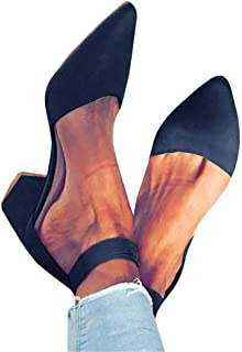 Kathemoi Womens Pointed Toe Pumps Sandals Ankle Strap Chunky Block Low Heel Dress Shoes
