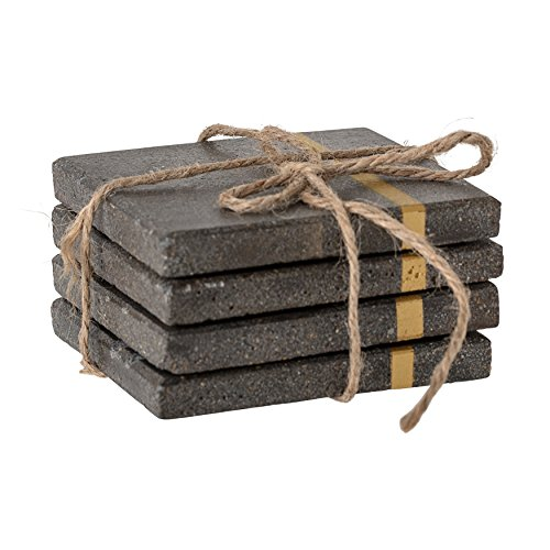 Bloomingville Grey Striped Gold Metal Inlay Square Cement Coasters (Set of 4), 4'
