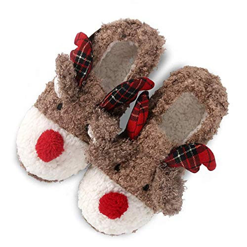 Solaud Women's Christmas Slippers Handmade Cute Deer Plush Soft Warm Home Slippers