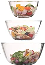 Femora Borosilicate Glass Microwave Safe Mixing Bowl (400ml, 1650ml, 2100ml) - Set of 3