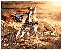 デジタル油絵動物写真リビングルーム自然絵画油絵デジタル絵画デジタルDIY馬の絵画40x50cmフレームレス