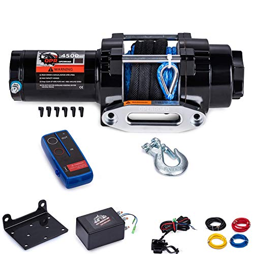 OPENROAD 12V 4500 Lb Electric Winch Kit,15M Blue Synthetic Rope ATV Winch,Recovery Pulling Winch with Wireless Remote Control and