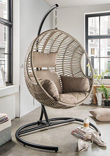 Dreams4Home Hängesessel 'Dorla' - Sessel, mit Gestell, Flachgeflecht beige/grau, mit Polster in beige, Gestell: 191 x 120 x 100 cm, Korb: 113 x 104 x 81 cm, Gartenmöbel