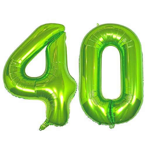 DIWULI, gigantische XXL Zahlen-Ballons, Zahl 40, Luftballons grün, Zahlenluftballons, Folien-Luftballons groß Nummer Nr Jahre, Folien-Ballons 40. Geburtstag, Party-Deko, Dekoration, Geschenk-Deko