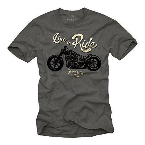 MAKAYA Ropa Moto Hombre - Camiseta con Mensaje Life TO Ride - Gris L