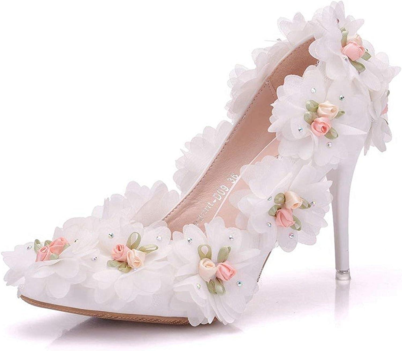 Qiusa Frauen-Spitze-Rosa blüht reizende reizende reizende nahe Zehe-Satin-Brauthochzeits-Pumpen (Farbe   Ivory-10cm Heel, Größe   2.5 UK)  034d75