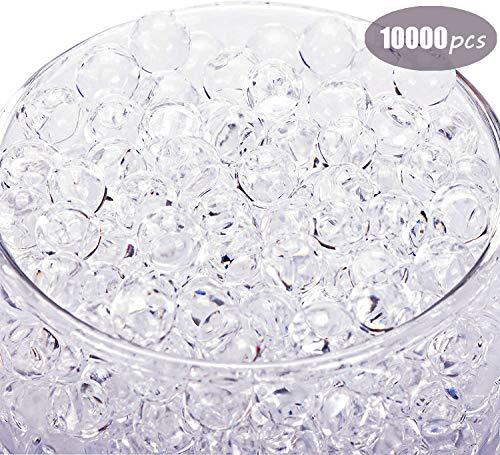 Eyscoco Wasserperlen, 10000 Stück Vase Füller Perlen Edelsteine Wassergel Perlen Wachsende Kristallperlen Hochzeit Herzstück Dekoration (Transparent)